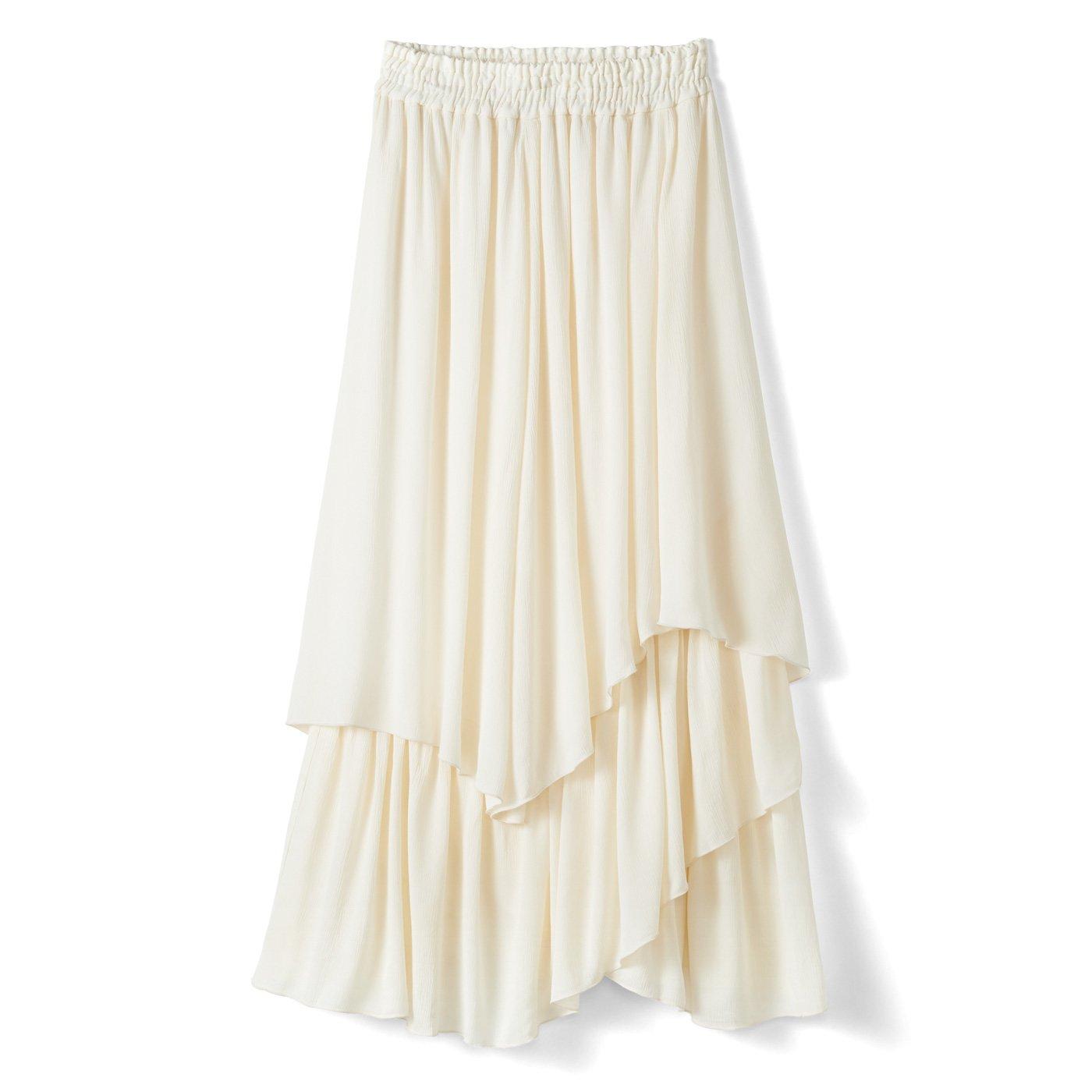 【3~10日でお届け】IEDIT[イディット] ふわりと軽やかな楊柳(ようりゅう)ティアードイレギュラーヘムスカート〈アイボリー〉