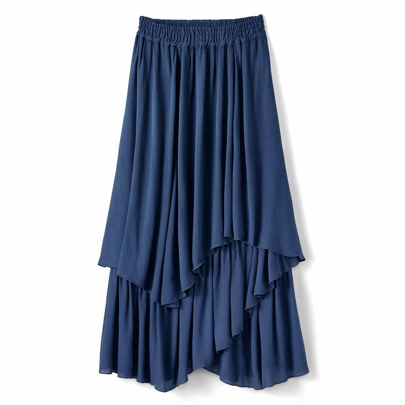 【3~10日でお届け】IEDIT[イディット] ふわりと軽やかな楊柳(ようりゅう)ティアードイレギュラーヘムスカート〈ネイビー〉
