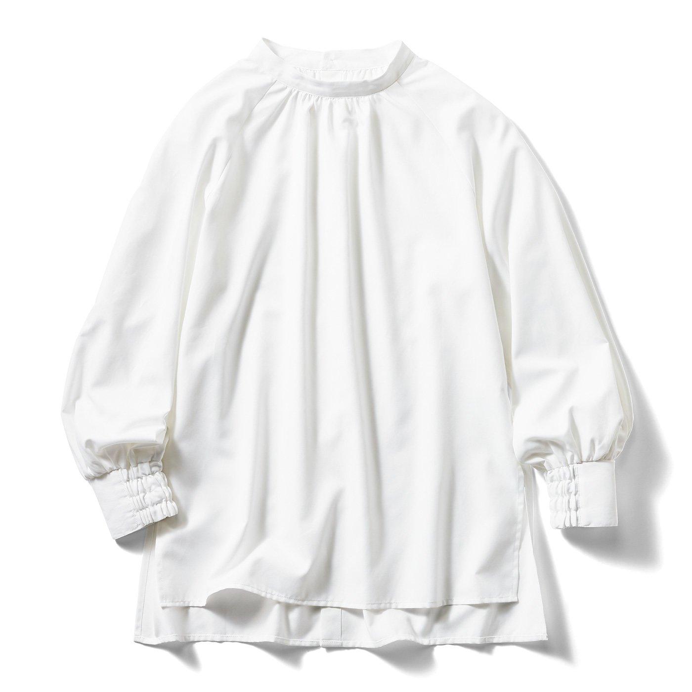 【3~10日でお届け】IEDIT[イディット] UVカット&防汚加工 クレバー素材のしなやかドレスシャツ〈ギャザー〉