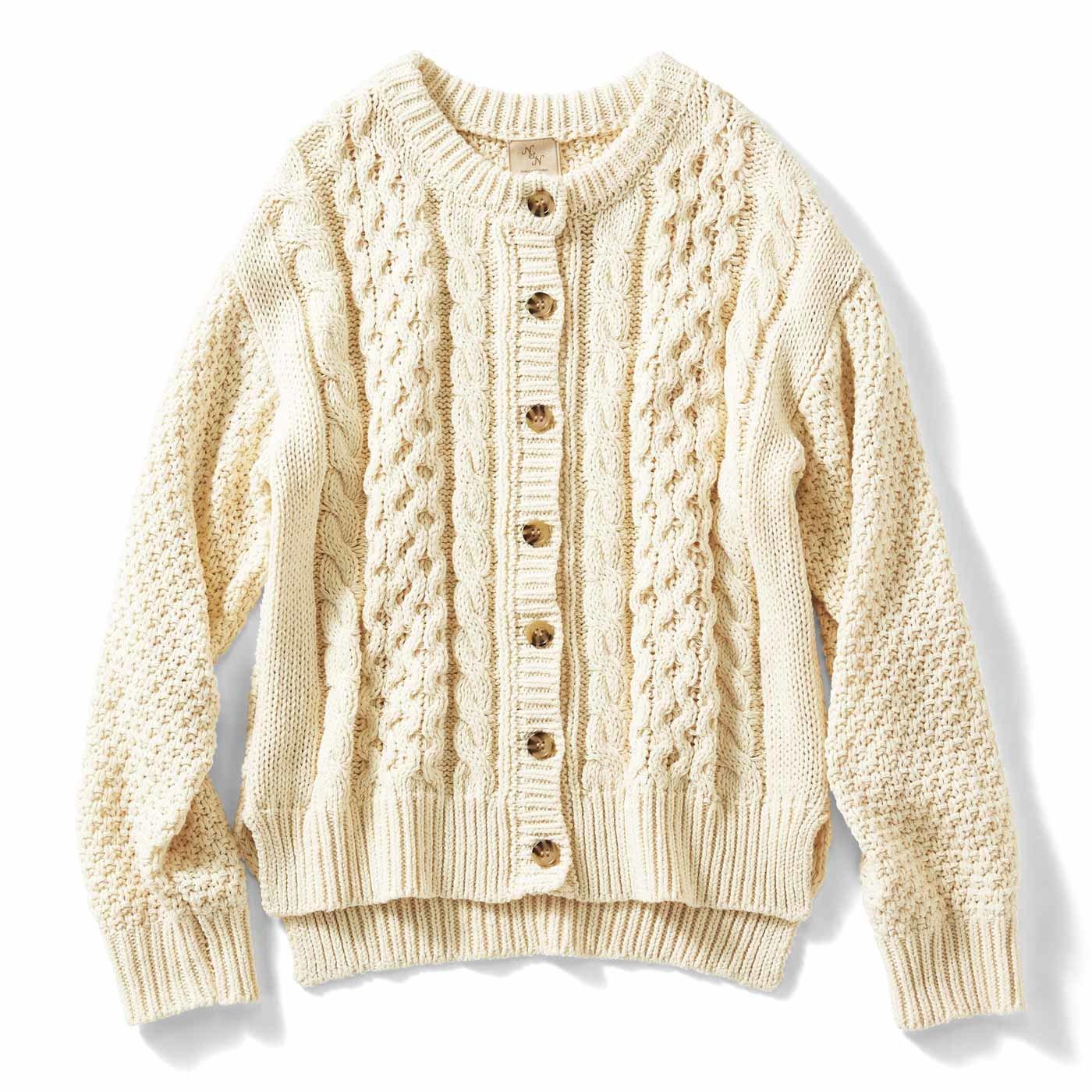 【3~10日でお届け】IEDIT[イディット] コットンニットのケーブル編みカーディガン〈アイボリー〉