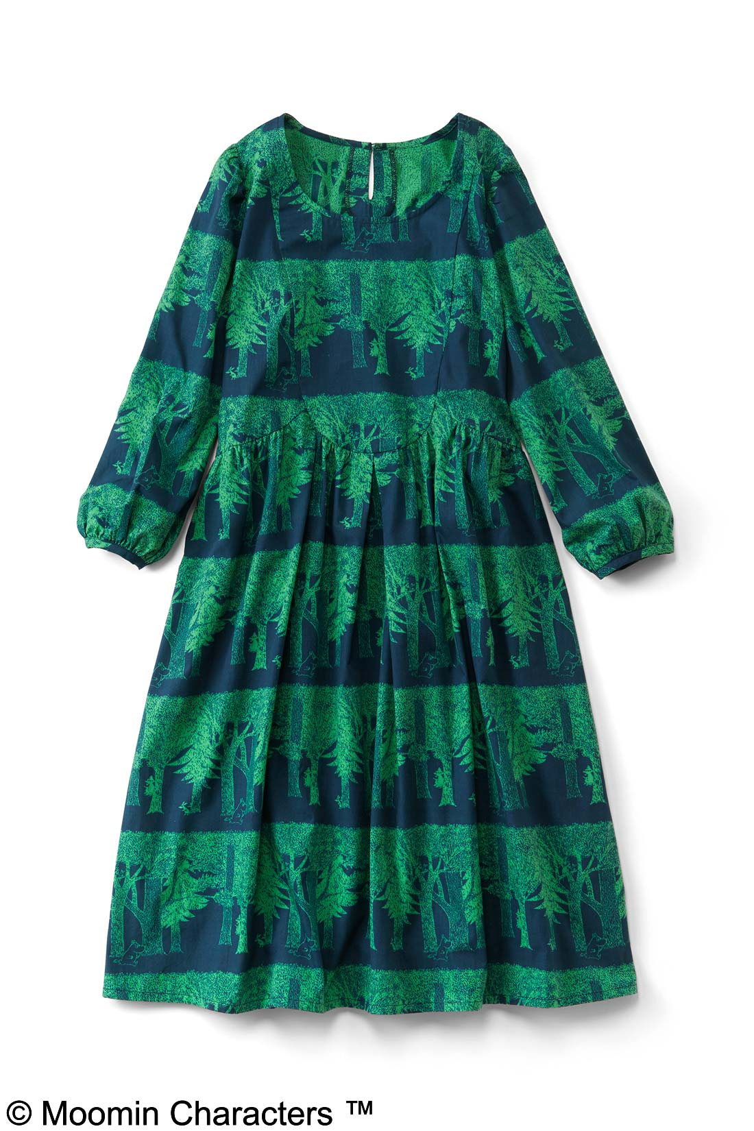 【ネイビー×グリーン】ボーダーのように配置された木々が素敵でしょ。スカート部分には裏地付き。