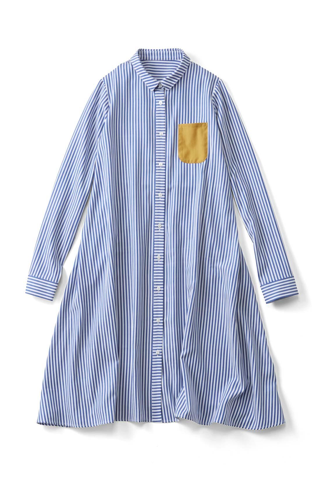 【細ストライプ】パキッとした配色の胸ポケットが目印だよ。