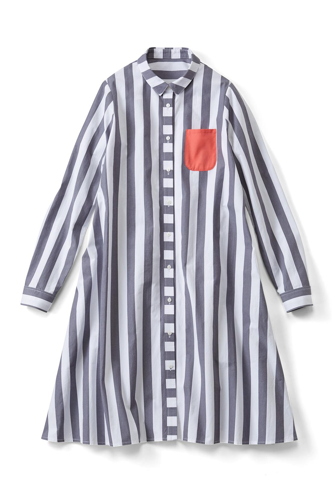 【太ストライプ】パキッとした配色の胸ポケットが目印だよ。