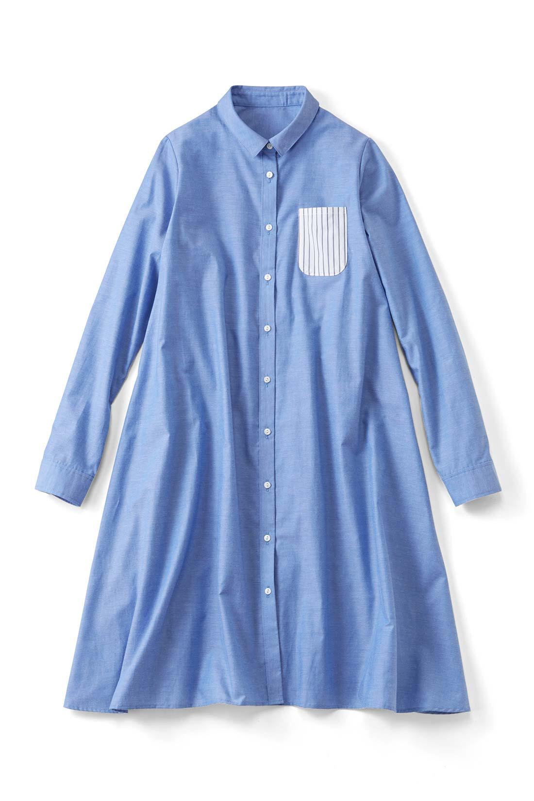 【水色シャンブレー】パキッとしたストライプ柄の胸ポケットが目印だよ。