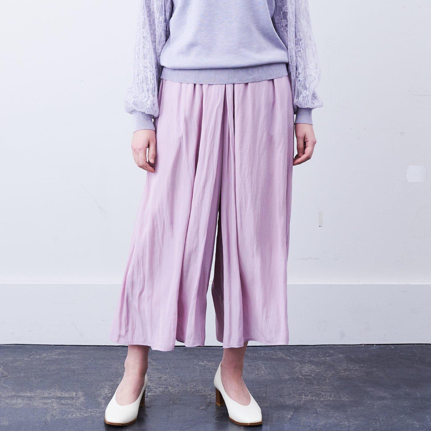 【WEB限定】IEDIT[イディット] トレンドカラーでふわりひらりコーデが華やぐ クルっとペチパンツ付きスカーチョ〈ライトピンク〉