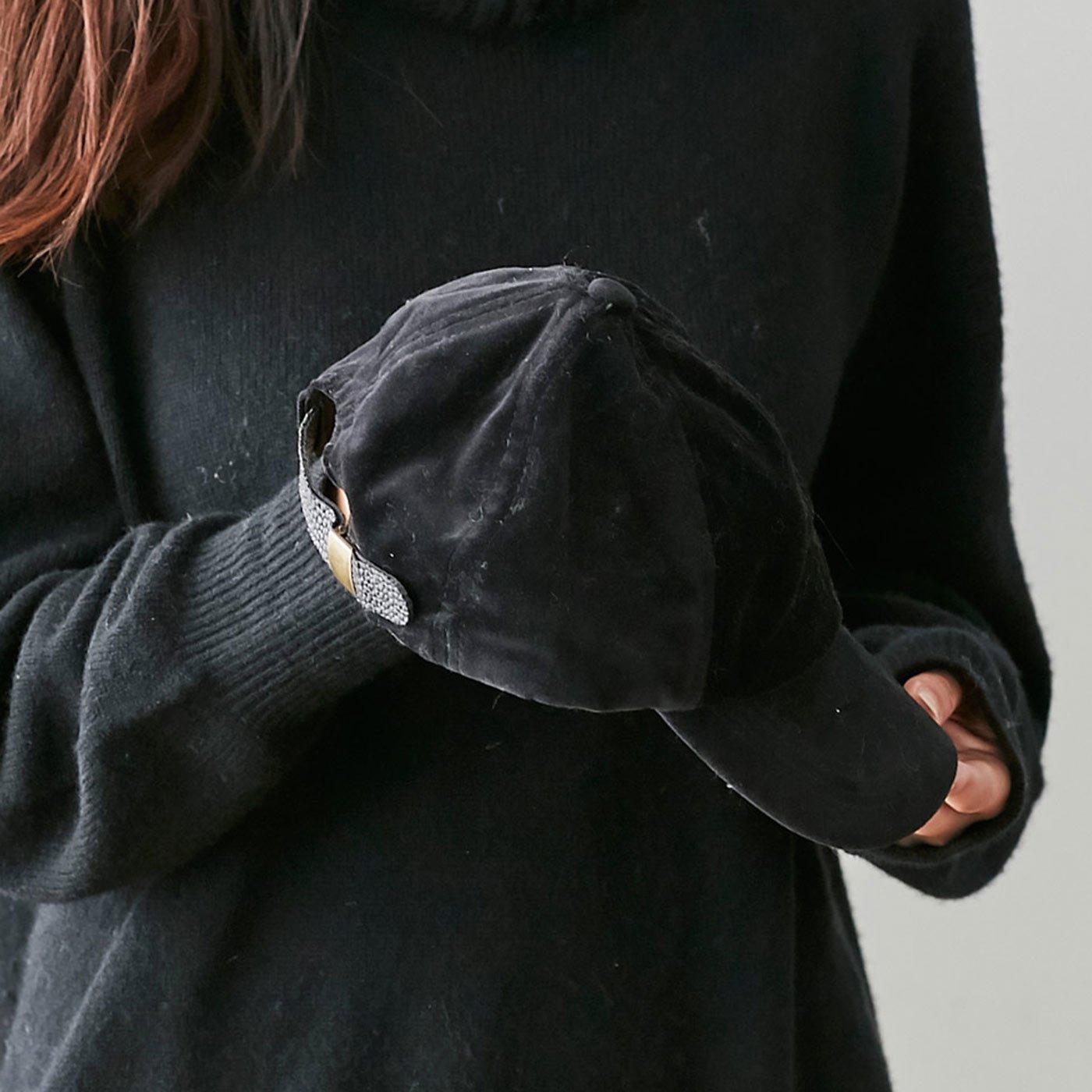 IEDIT[イディット] SELECT サイズ調節機能付き 旬の別珍キャップ〈ブラック〉