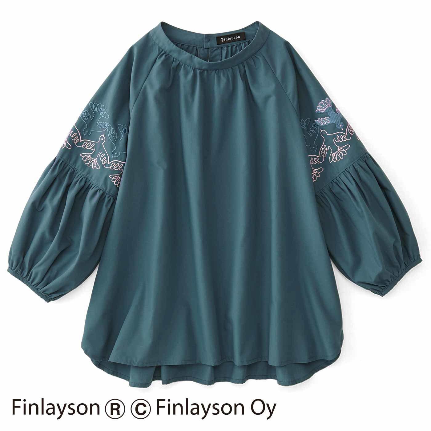 フィンレイソン 刺しゅうかわいいボリューム袖トップス〈ムート〉