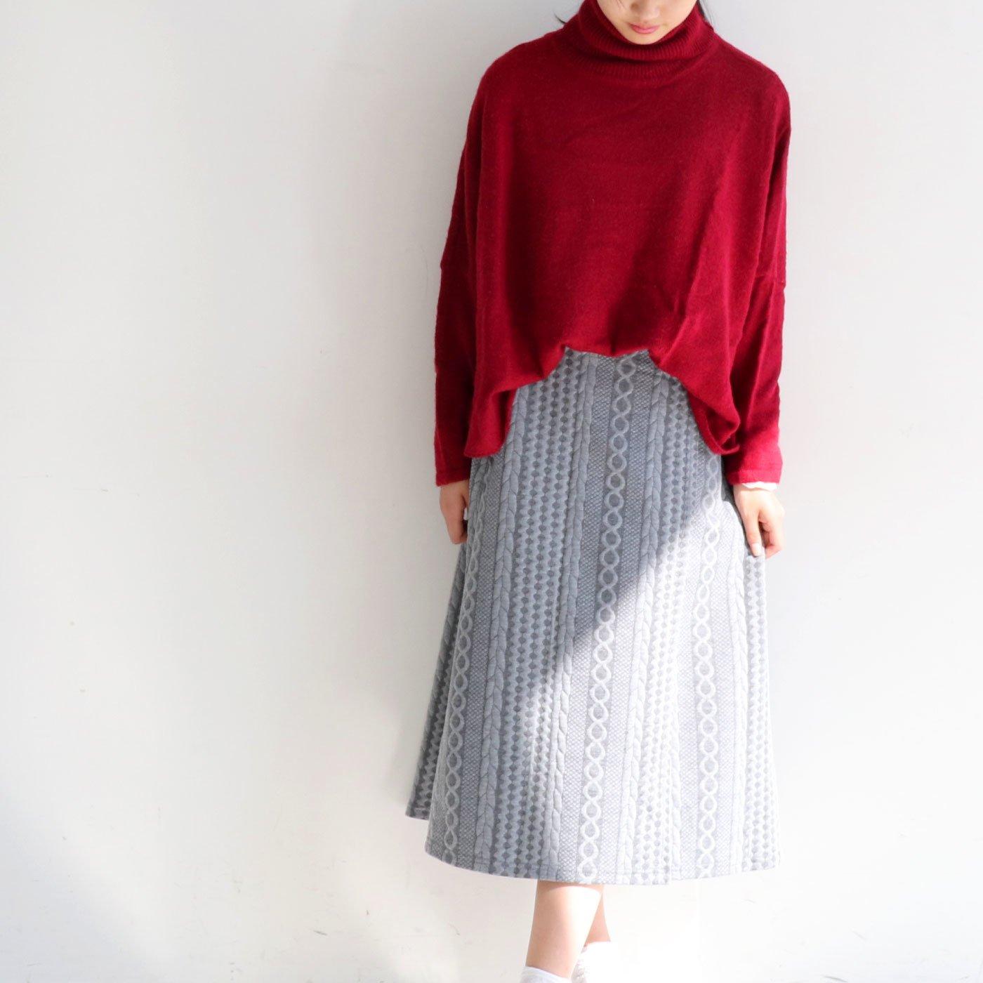 簡単クラシカルコーデ ジャガードカットソーのラップ風スカート