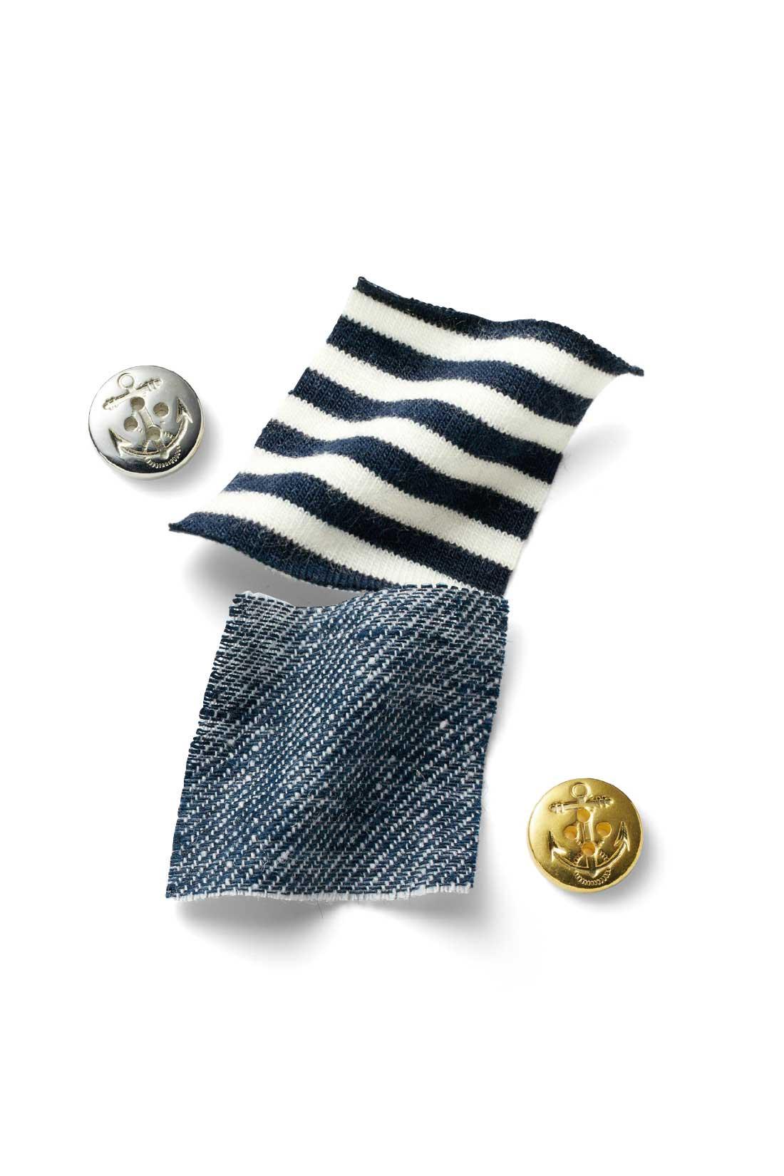 麻のシャリ感と綿のやさしい肌ざわりを両立させた綿麻シャンブレー素材。ウエストはストレッチ混カットソーでらくちん。