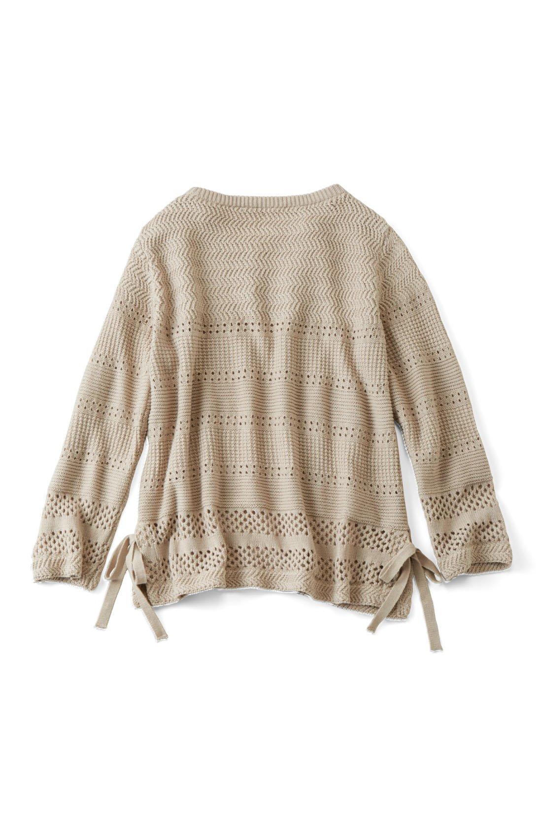 BACK 後ろも透かし編みデザインで華やか。※お届けするカラーとは異なります。