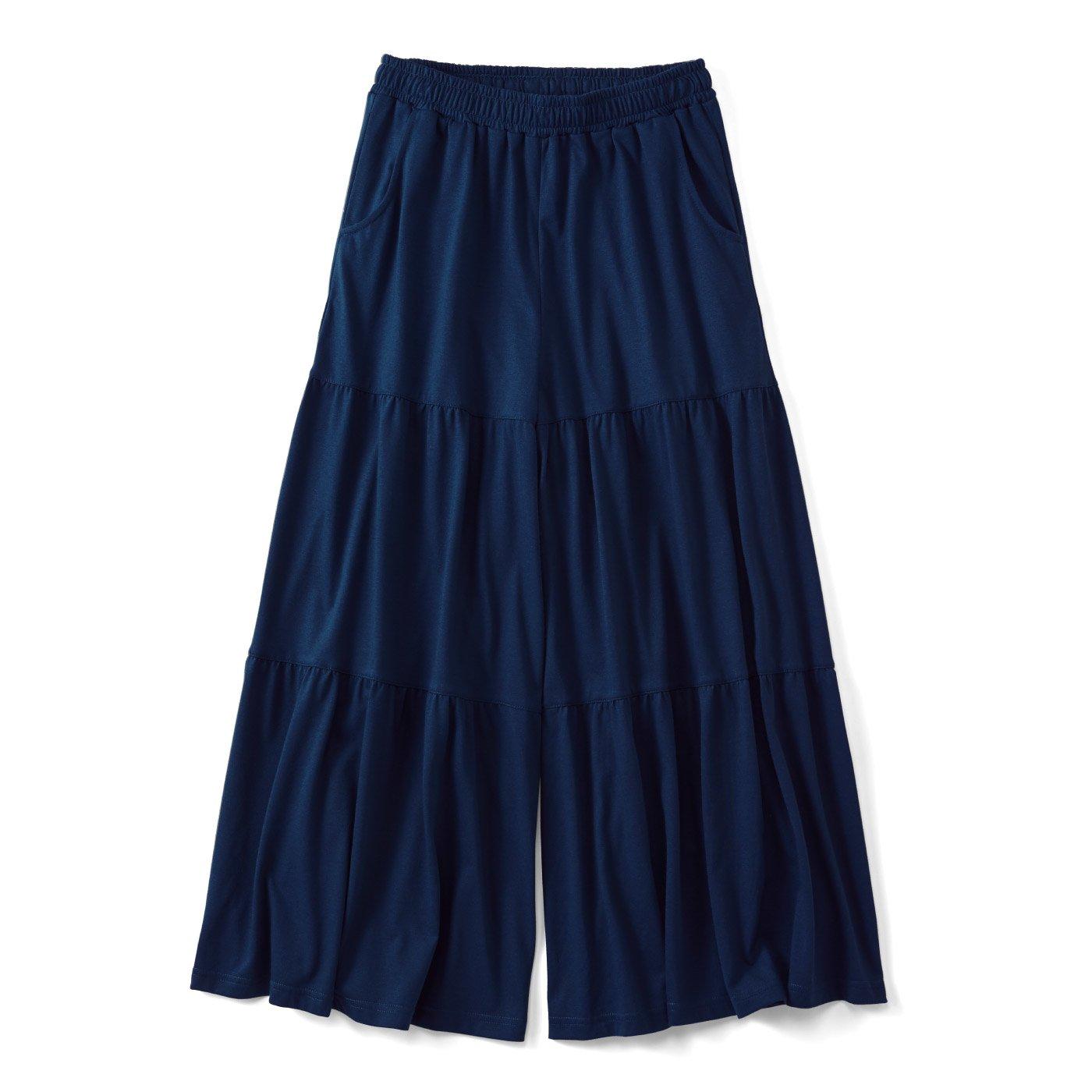 【3~10日でお届け】リブ イン コンフォート スカート気分の やわらかカットソー ティアードガウチョ〈ネイビー〉