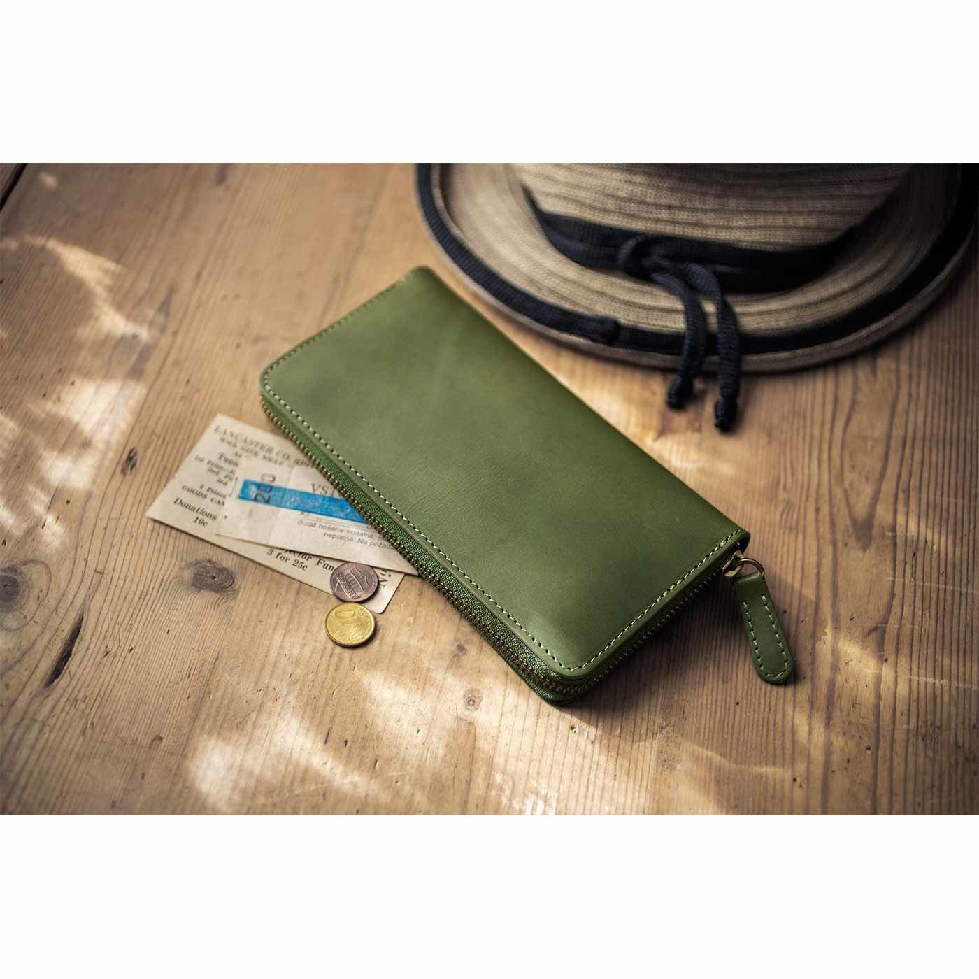 鞄(かばん)作家と作った本革ラウンドジップ財布〈フォレストグリーン〉[本革 長財布:日本製]