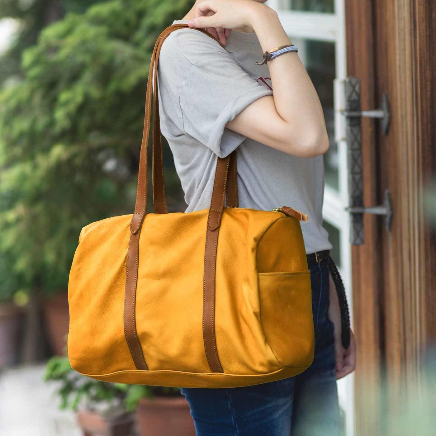 鞄(かばん)作家と作ったオールレザーボストンバッグ〈キャメル〉[本革 バッグ:日本製]