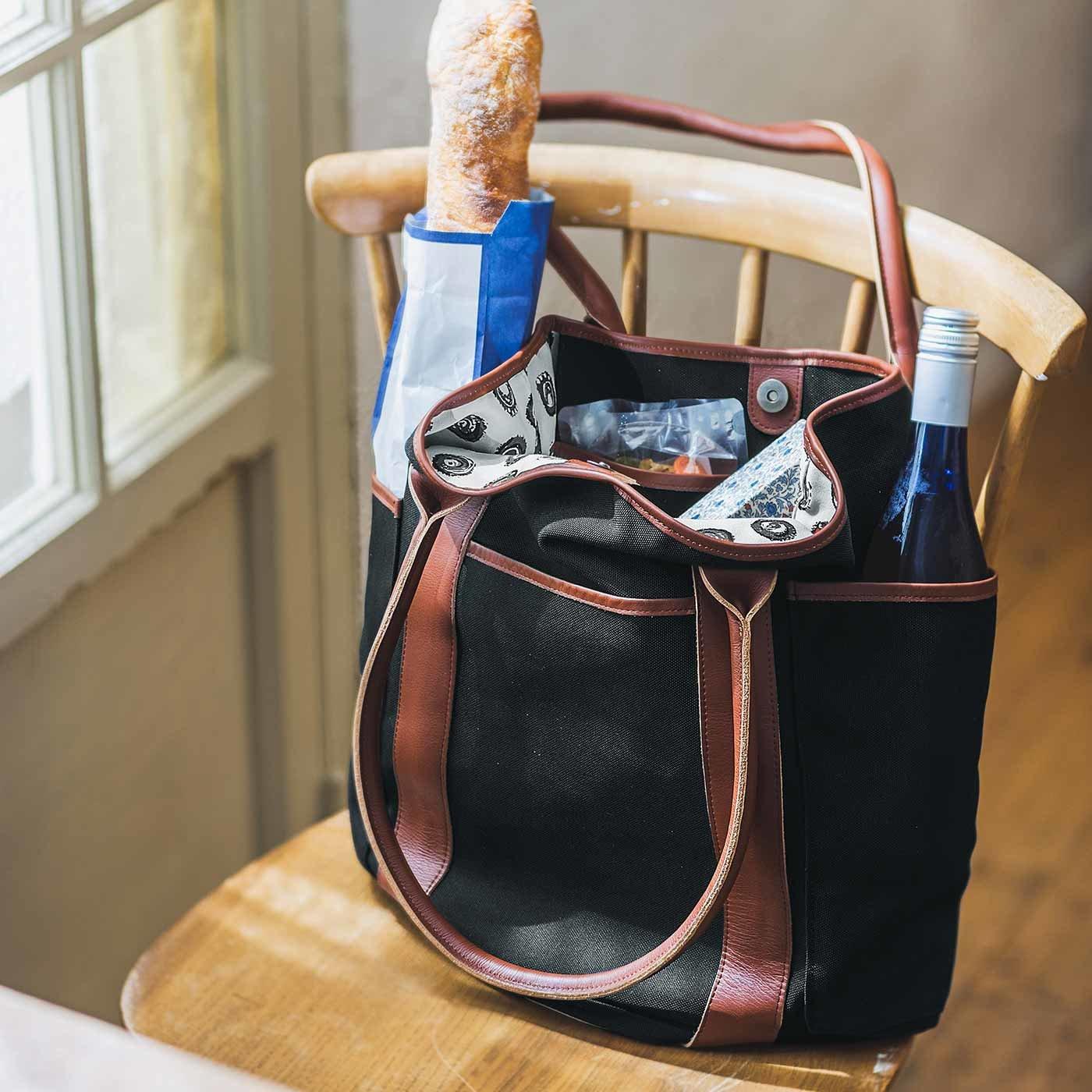 チョコレートバイヤーと作った 職人本革遣いの帆布バイヤーマルシェバッグ〈ブラック〉[帆布 鞄:日本製]