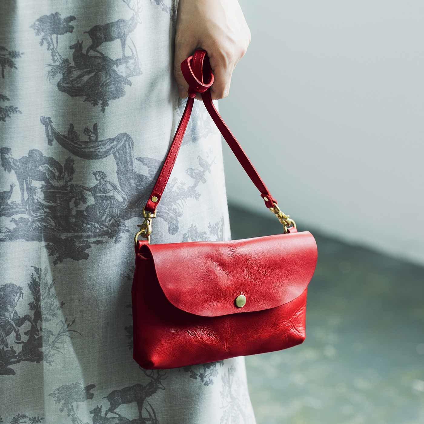 福岡の鞄作家と作った 職人本革のスキップバッグ 〈ハイビスカス色〉[本革 鞄:日本製]