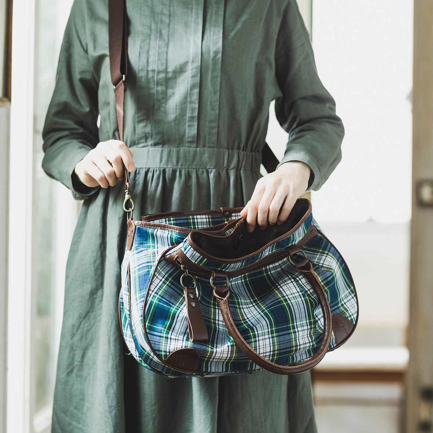 ママの声から生まれた 職人本革遣いのソートバッグ〈チェック×ブラウン〉[本革 鞄:日本製]