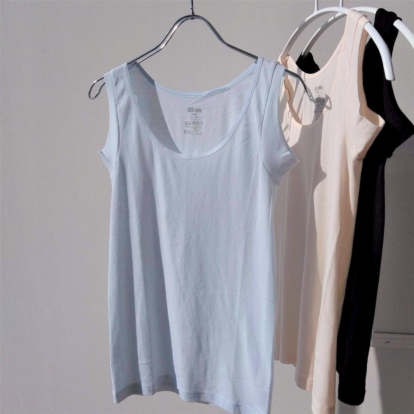 綿100%で吸汗速乾 強撚糸のシャリ感が心地よいタンクトップ〈LL〉の会
