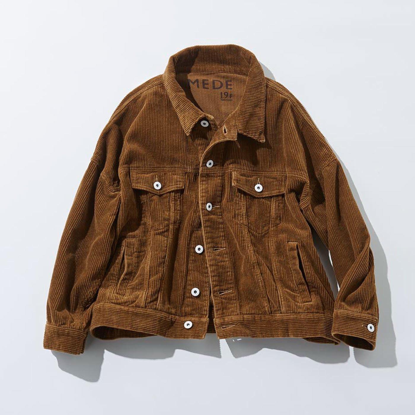 MEDE19F 洗いをかけたオーバーサイズコーデュロイジャケット〈ブラウン〉
