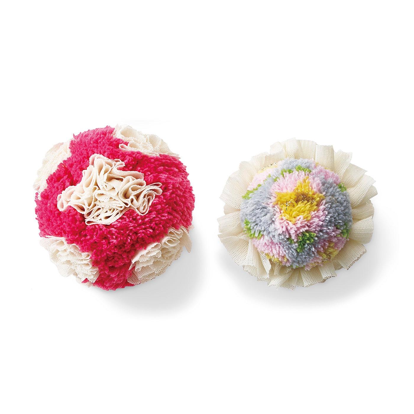 〈白いチュールの水玉とお花〉