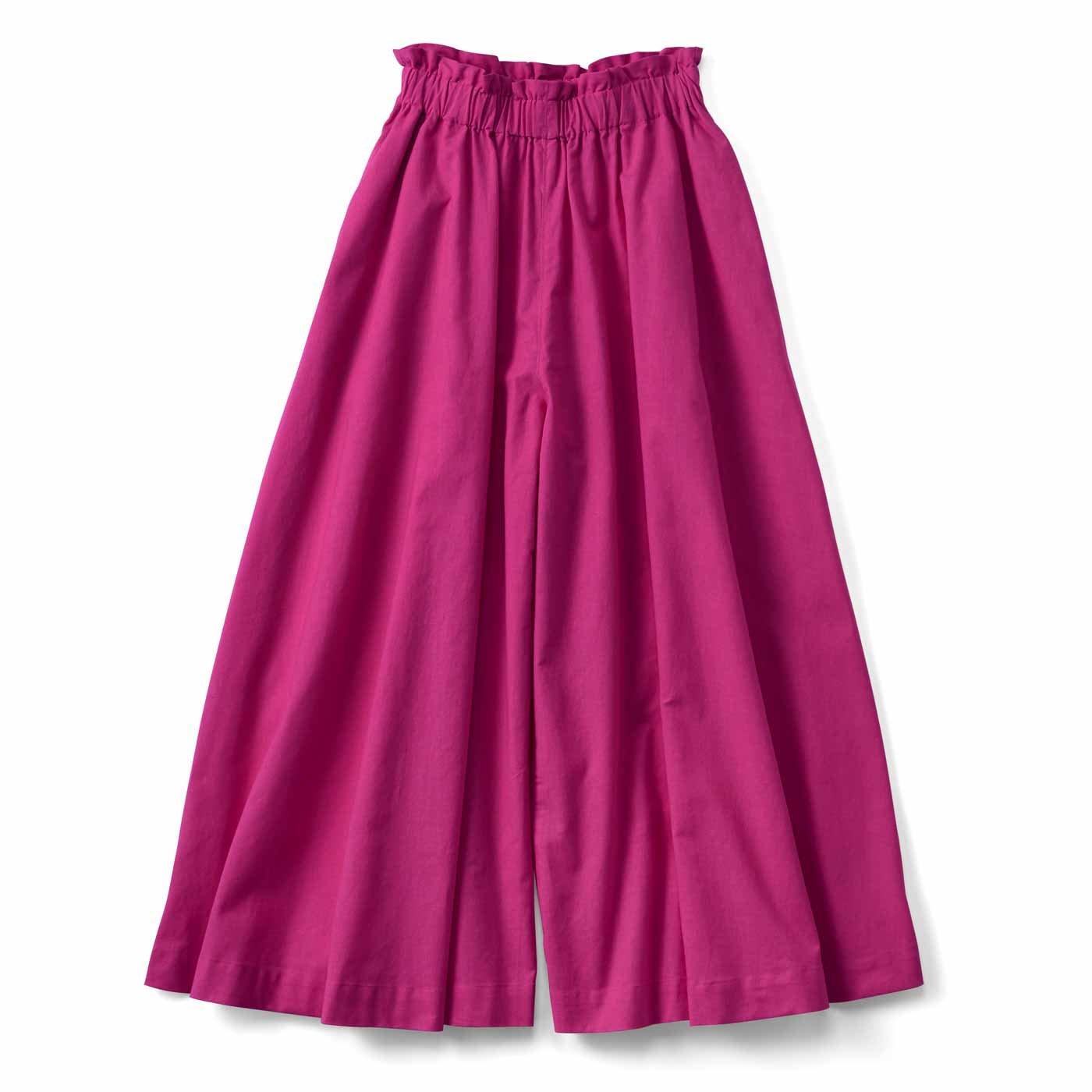 スカートみたいな コットンリネンのボリュームガウチョパンツ〈ピンク〉