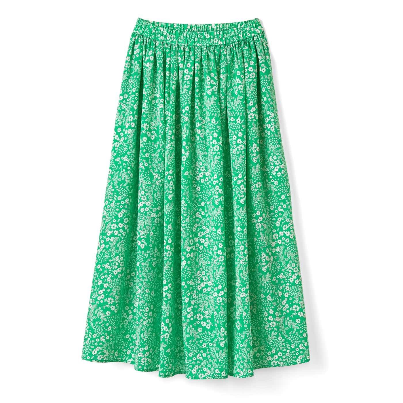 ふんわりギャザースカート〈グリーンフラワー〉