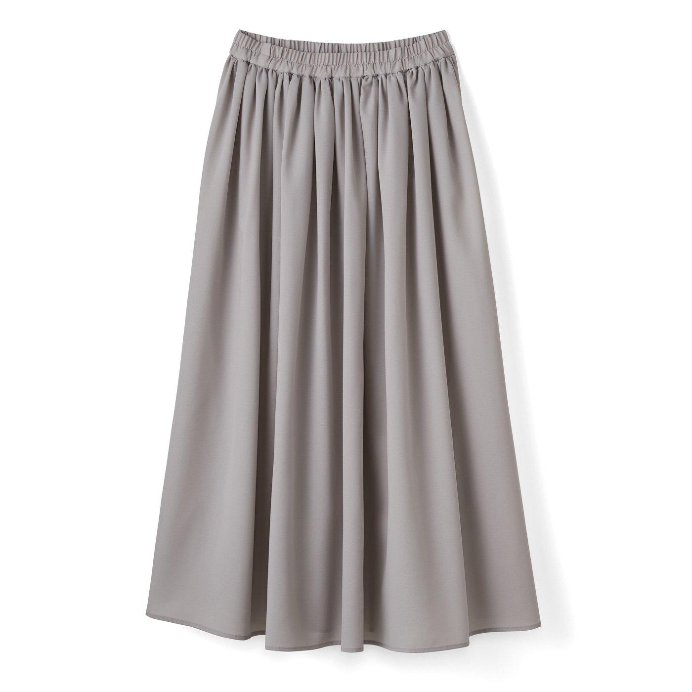 ふんわりギャザースカート〈ライトグレー〉