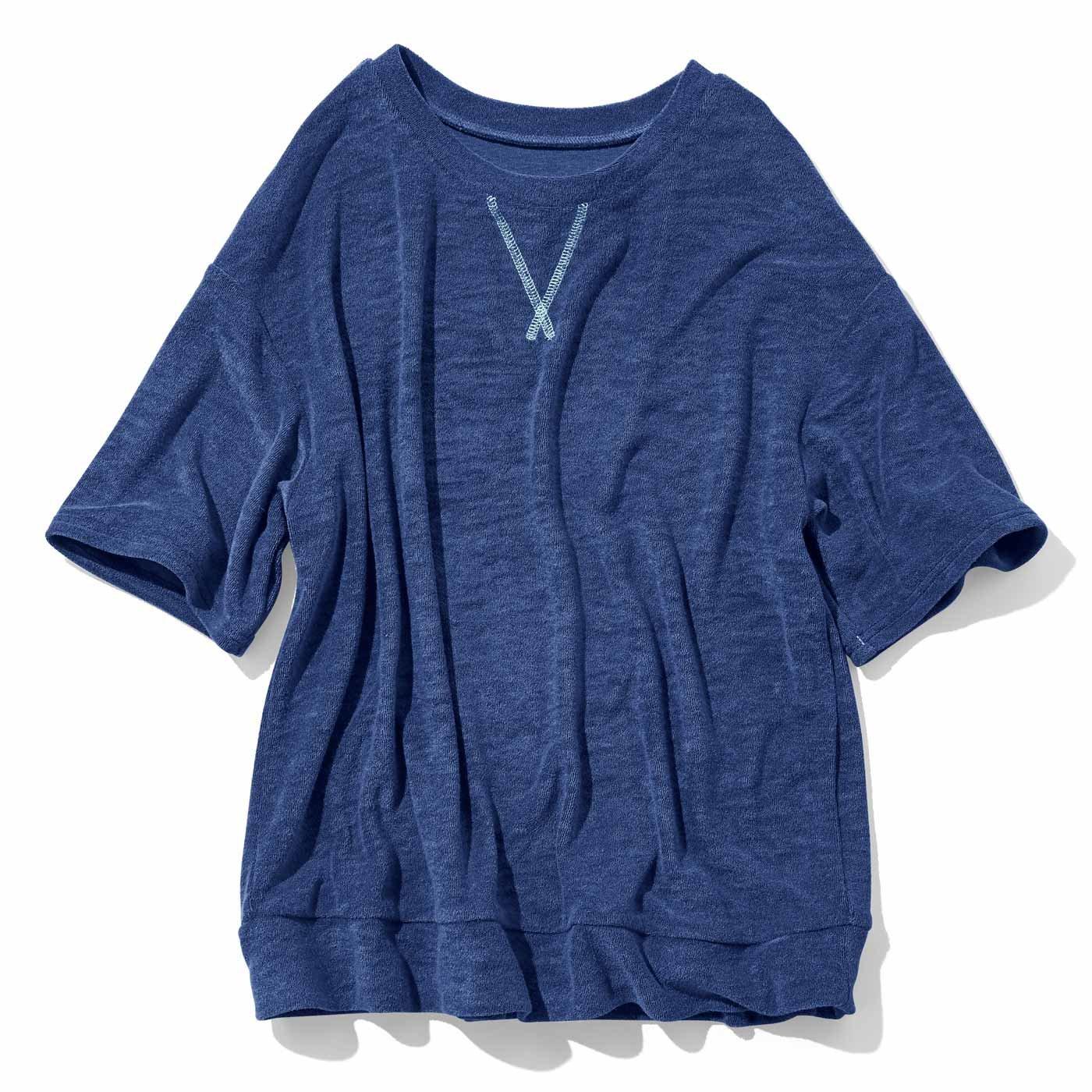ふんわりパイルTシャツ〈ネイビー〉
