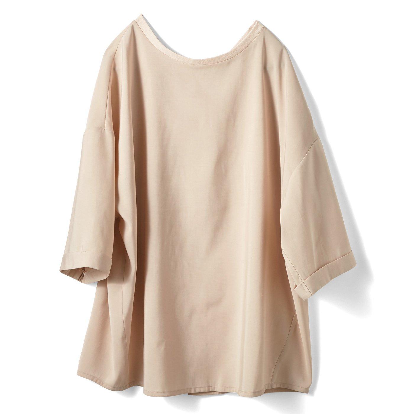 IEDIT[イディット] なめらか素材のTシャツみたいなカジュアルブラウス〈エクリュベージュ〉