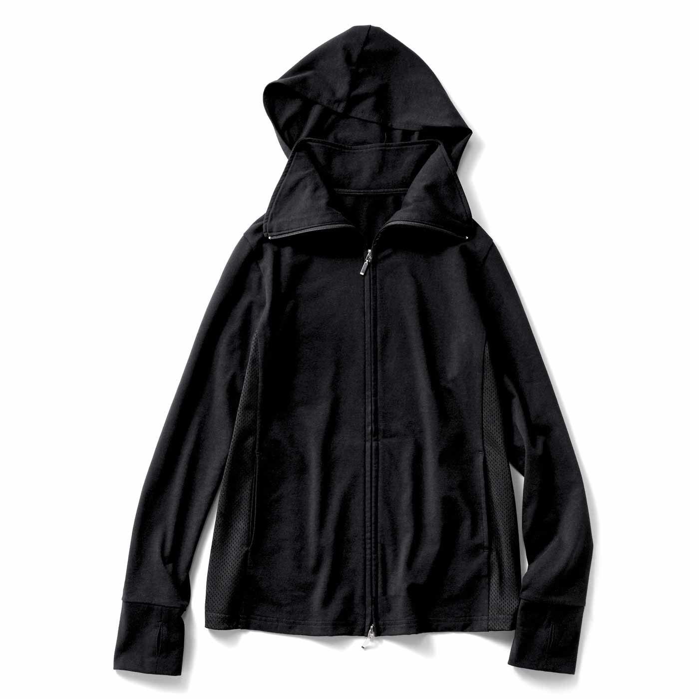 【3~10日でお届け】IEDIT[イディット] サッとはおって日差し対策 衿高仕様の吸汗速乾UVパーカー〈ブラック〉