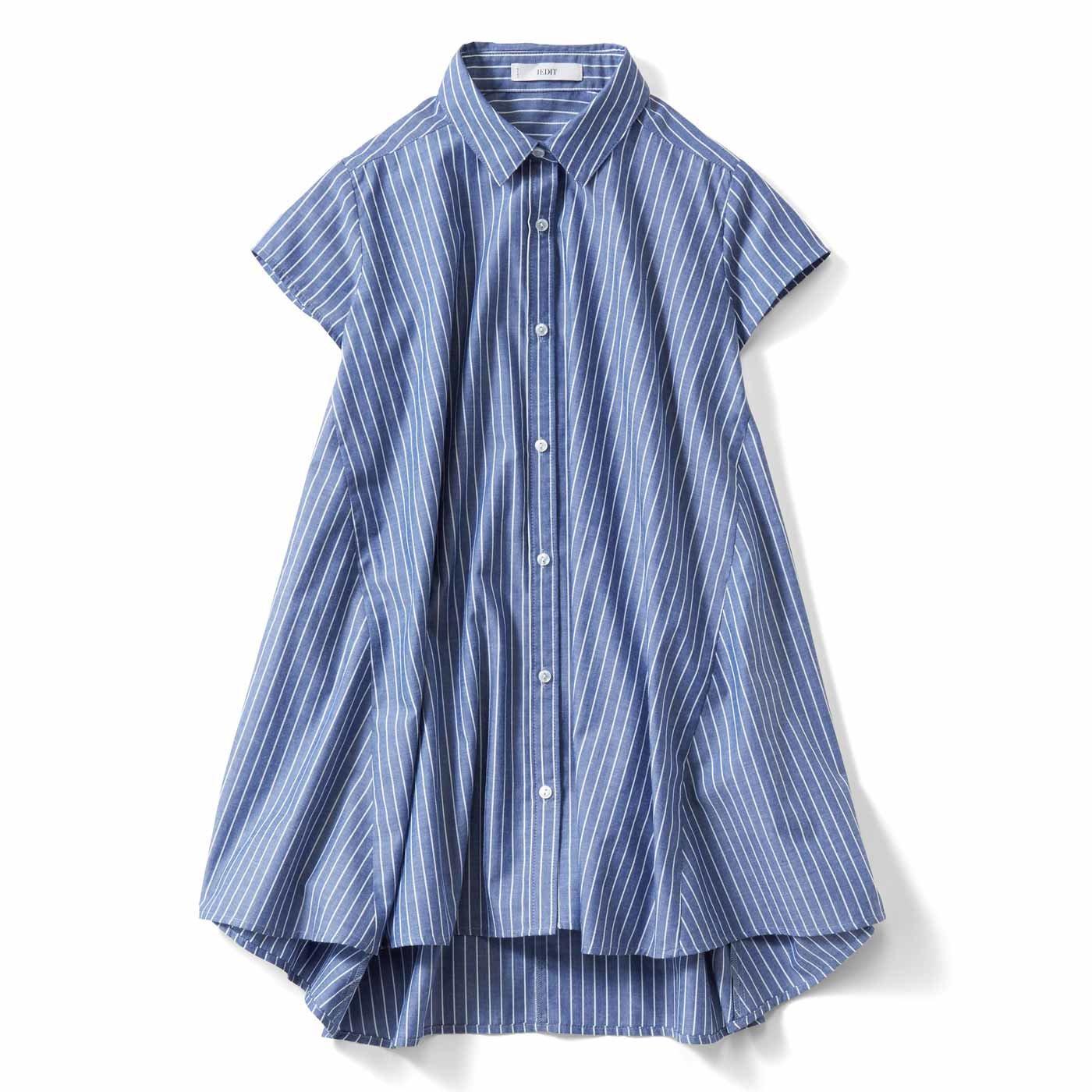 【3~10日でお届け】IEDIT[イディット] ふわりフレアーラインが軽やかな 着映えストライプシャツチュニック〈ブルー〉