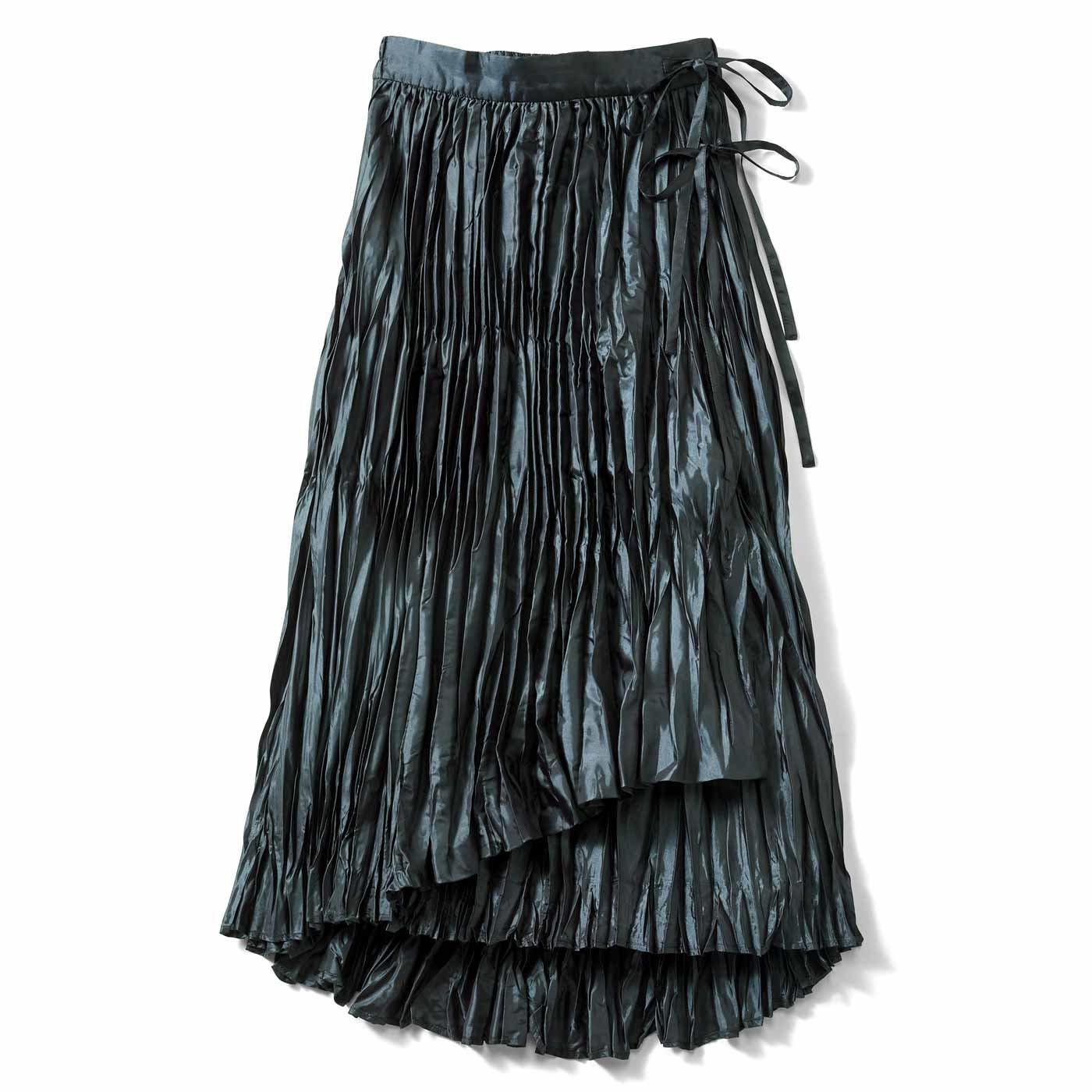 【3~10日でお届け】IEDIT[イディット] ラップ風ワッシャーロングスカート〈ブルーグレー〉