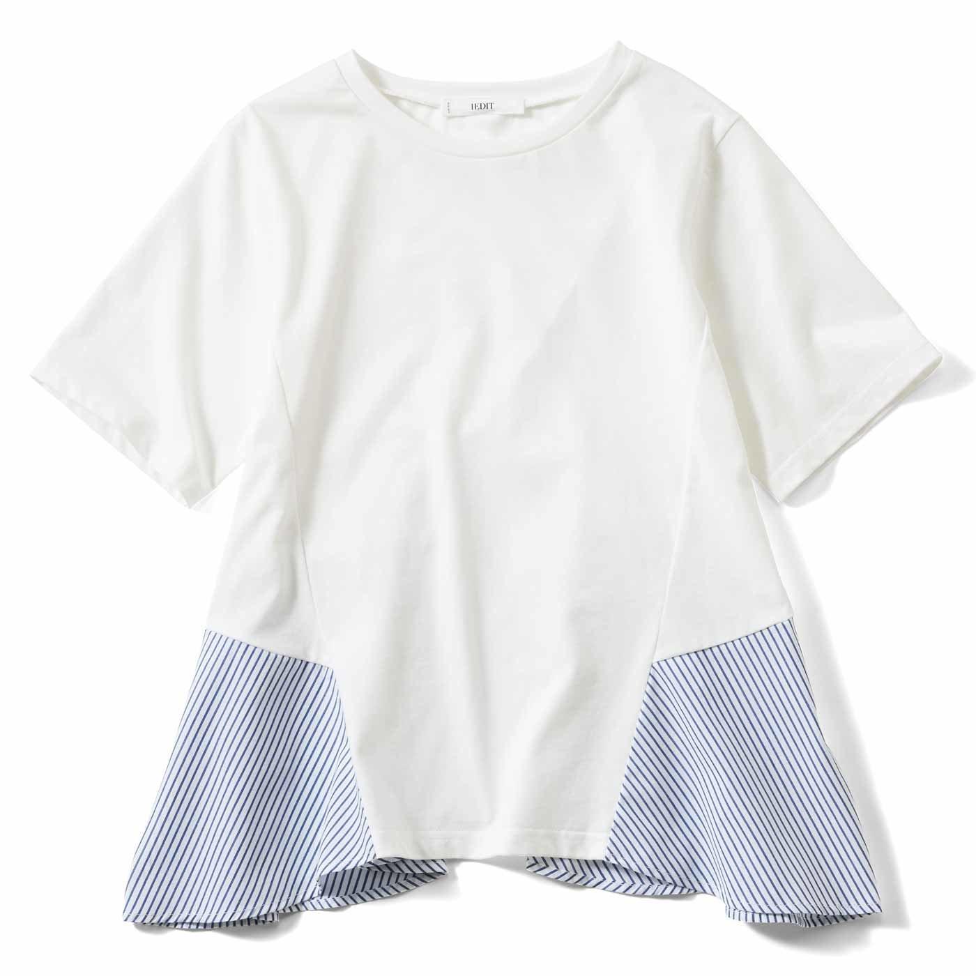 IEDIT[イディット] 抗菌防臭カットソー素材のストライプ布はく切り替えバックフレアートップス〈ホワイト〉
