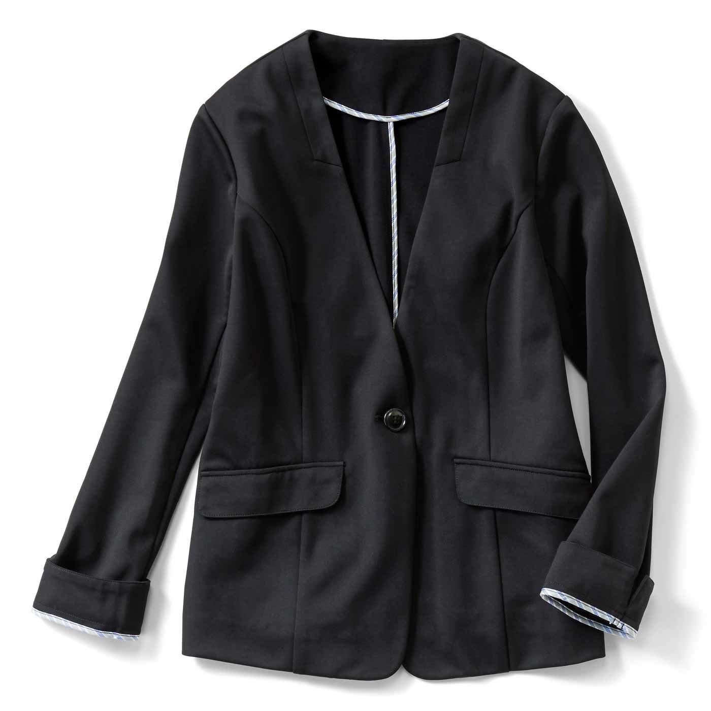 【3~10日でお届け】IEDIT[イディット] UVカット&接触冷感で着心地涼やかな 優秀バレエフィット(R)ジャケット〈ブラック〉