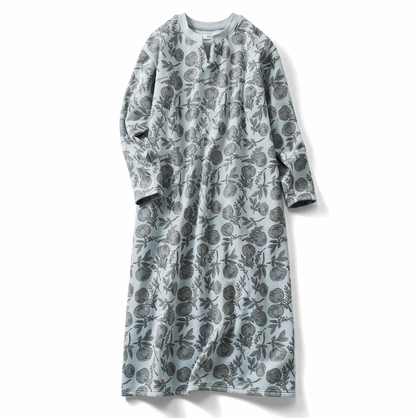 IEDIT[イディット] 内側微起毛のボタニカルプリントホームドレス〈グレイッシュブルー〉