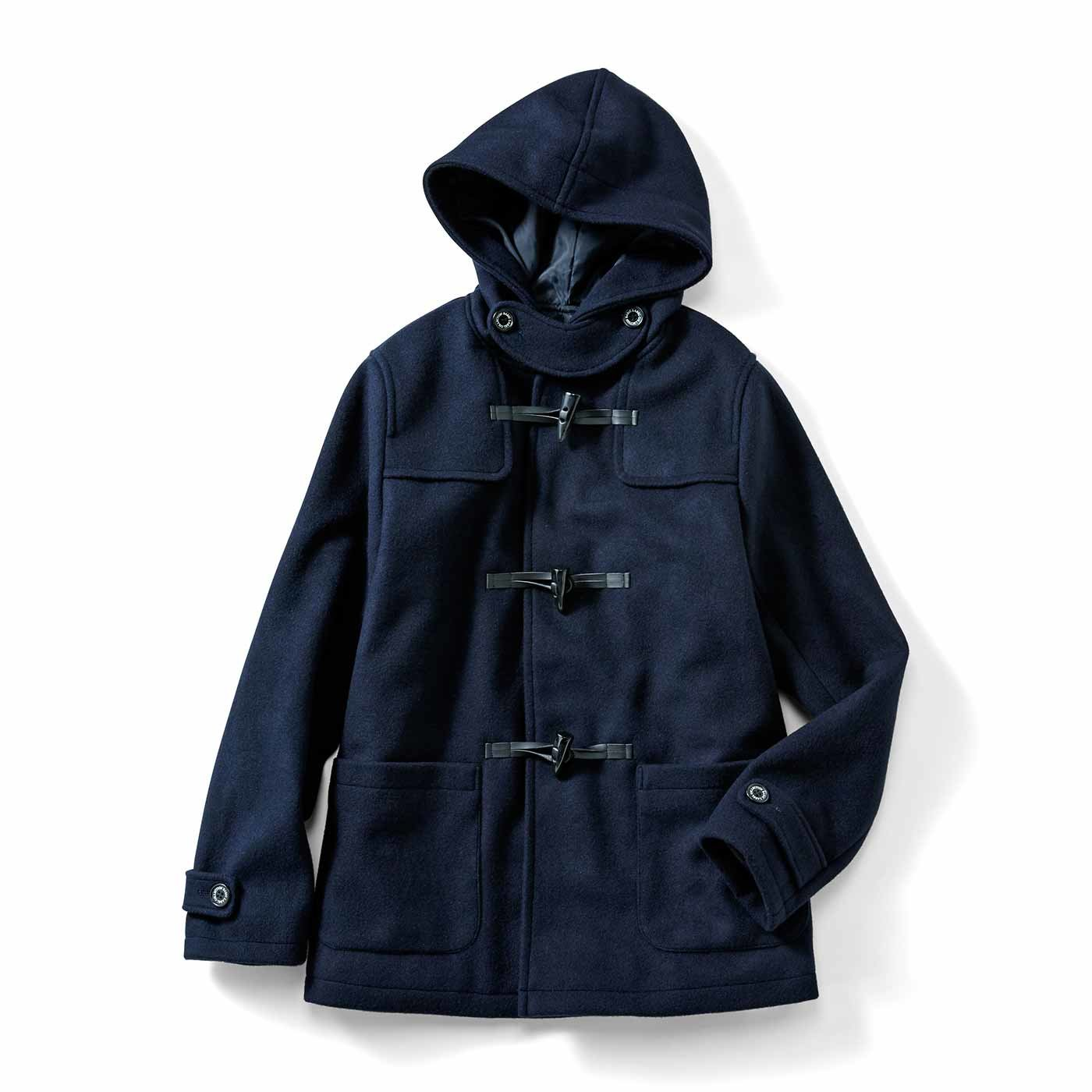 IEDIT[イディット] 裏キルティングで暖か 軽やかウール混素材のベストバランス大人ダッフルコート〈ネイビー〉