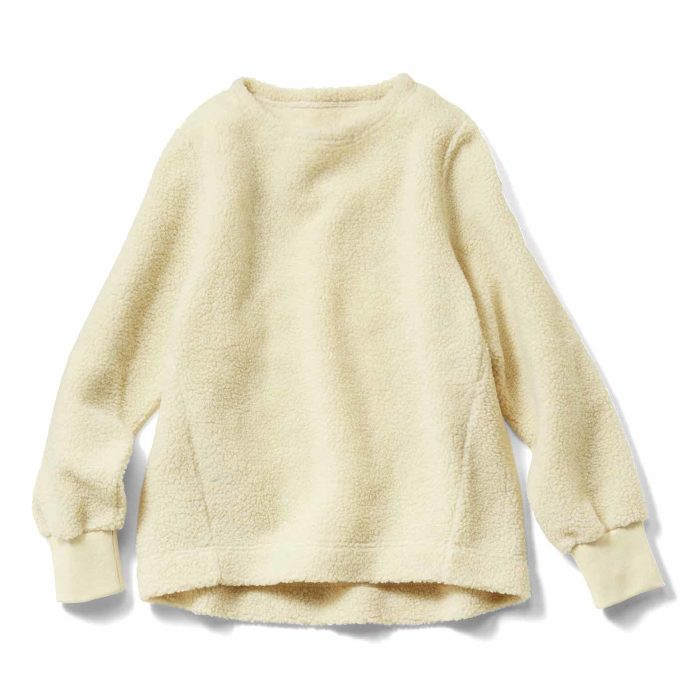 IEDIT[イディット] すっきり着られて暖かい きれいめボアトップス〈アイボリー〉