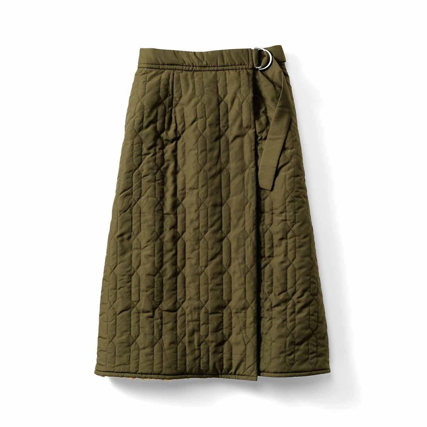 IEDIT[イディット] 裏地ボア素材であたたかい きれいめキルティングスカート〈カーキ〉