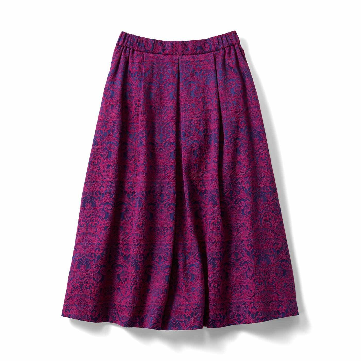 IEDIT[イディット] 裏フリース素材のジャカード柄フレアースカート〈ピンク〉