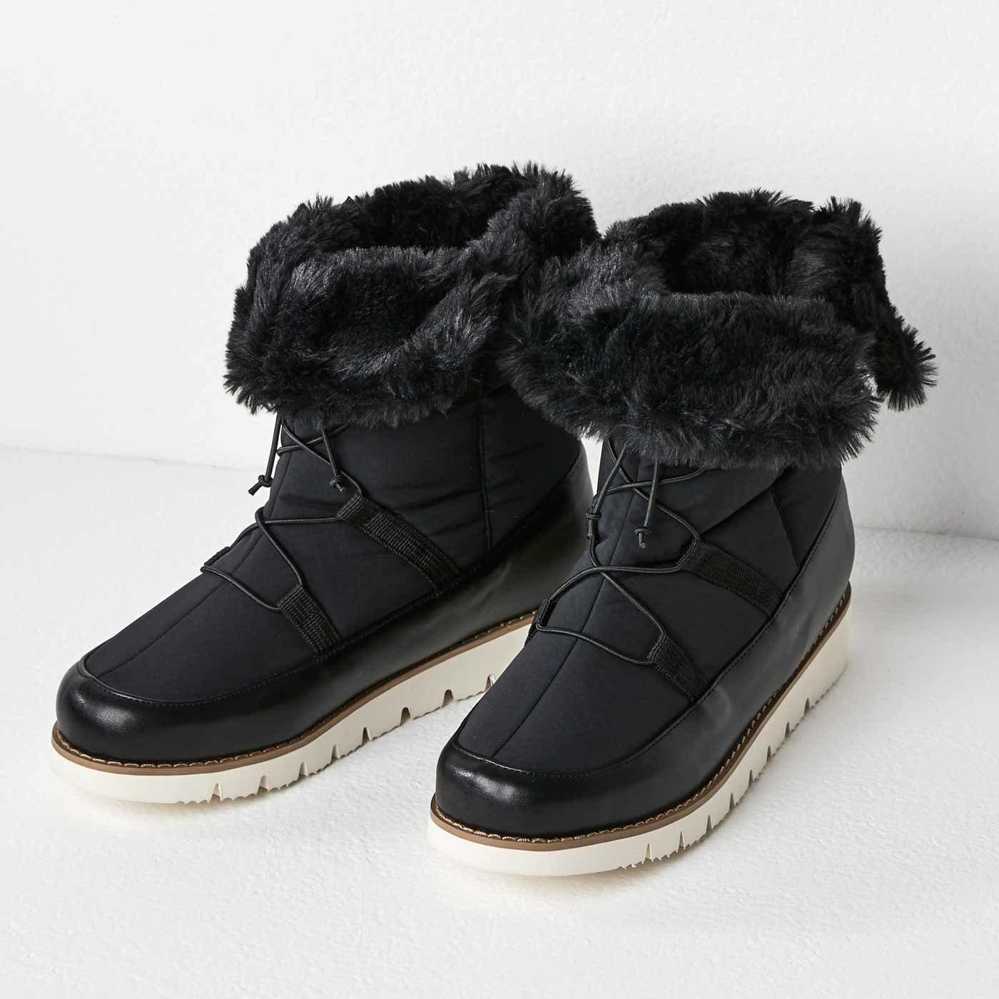IEDIT[イディット] 裏シャギー素材で暖か 軽やかショート丈ブーツ〈ブラック〉