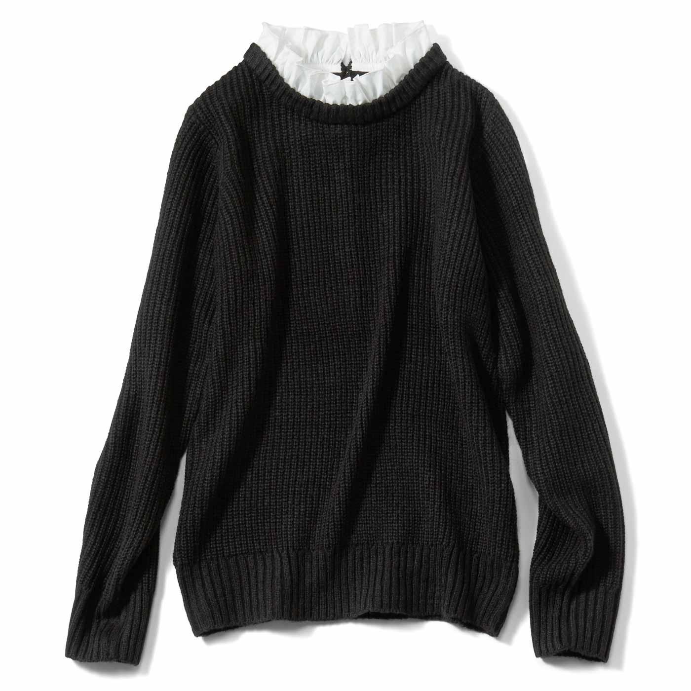 【3~10日でお届け】IEDIT[イディット] フリル衿がドッキングした 軽い着心地のあぜ編みニット〈ブラック〉