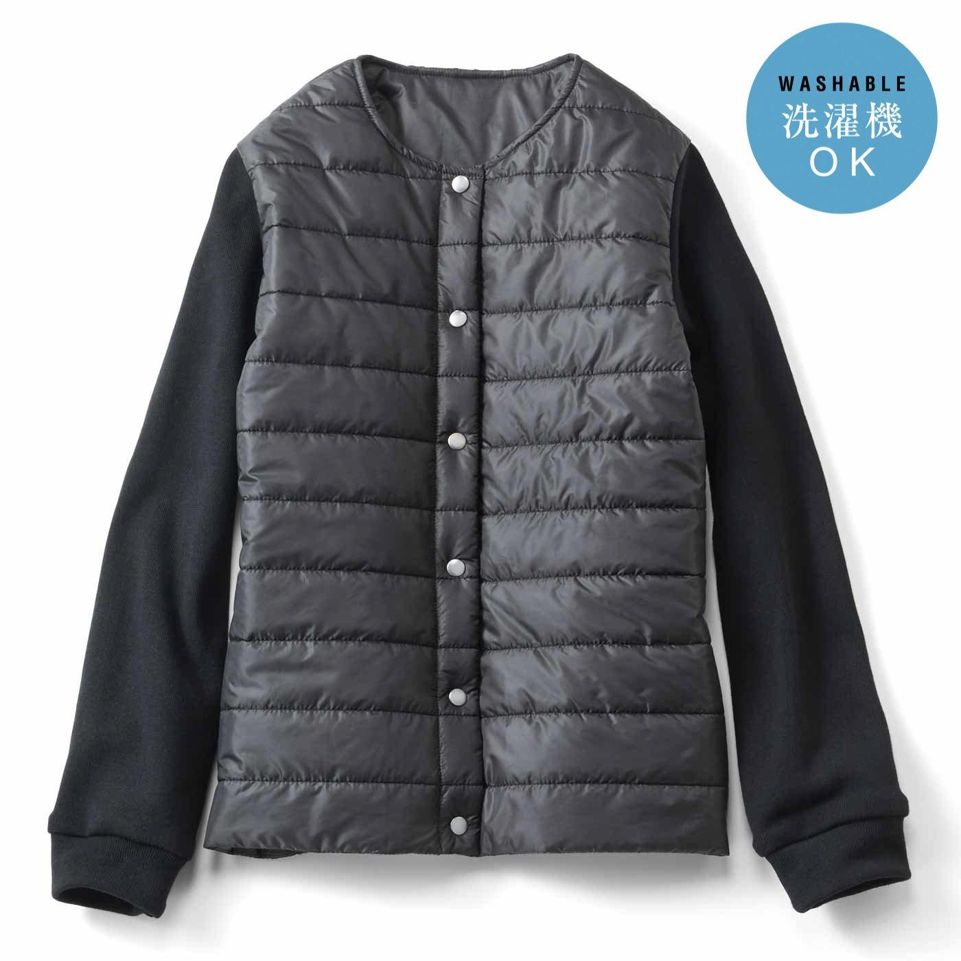 IEDIT[イディット] サーモライト(R)中わた使用の上品リッチなキルティングジャケット〈ブラック〉