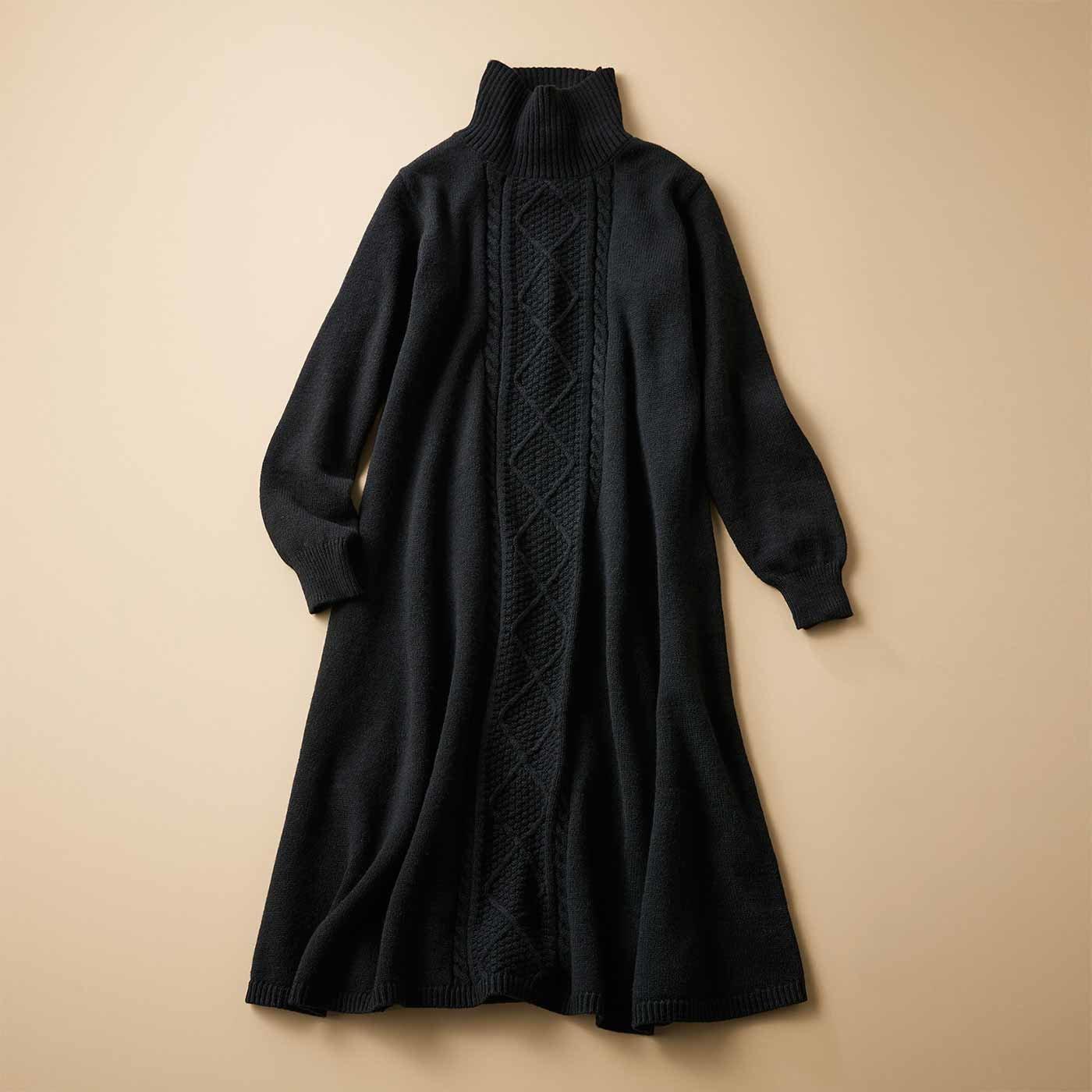 IEDIT[イディット] 帯電防止機能がうれしい ウール混 暖かAラインニットワンピース〈ブラック〉