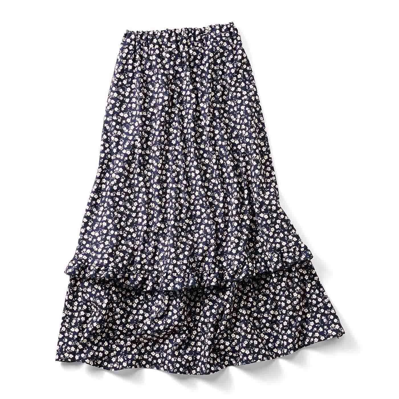 IEDIT[イディット] シャギーカットソー裏地付きのあったかプリントロングスカート〈ネイビー〉