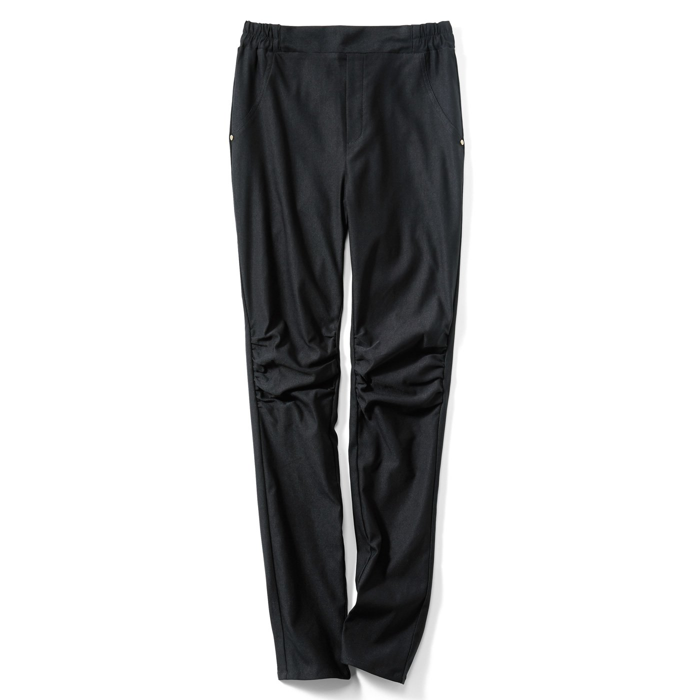 IEDIT[イディット] 裏起毛素材で伸びやかな ひざギャザー入り着やせレギンスパンツ〈ブラック〉