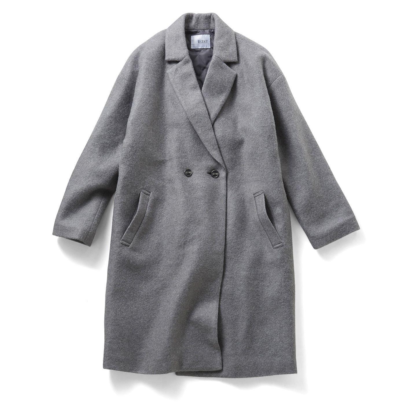 IEDIT 通勤コートの新定番! 中わたキルティング裏地付きのふんわり軽いチェスターコート〈ベーシックグレー〉
