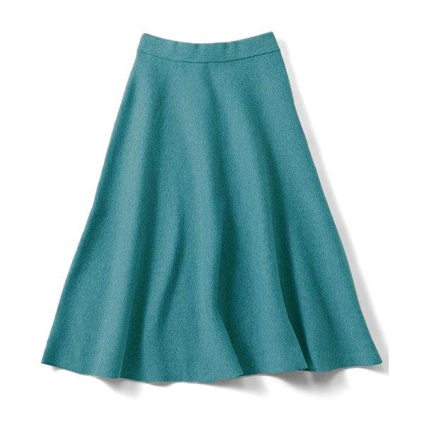 IEDIT ダブルジャカードでリュクスな張りを出した シルエット自慢のニットフレアースカート〈グリーン〉