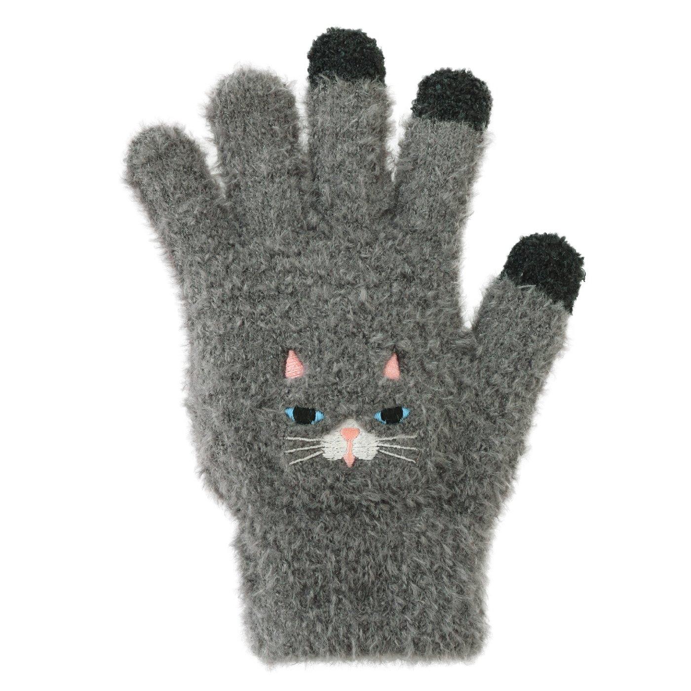 ゆるくてかわいいアニマルの スマホ対応もこもこ手袋