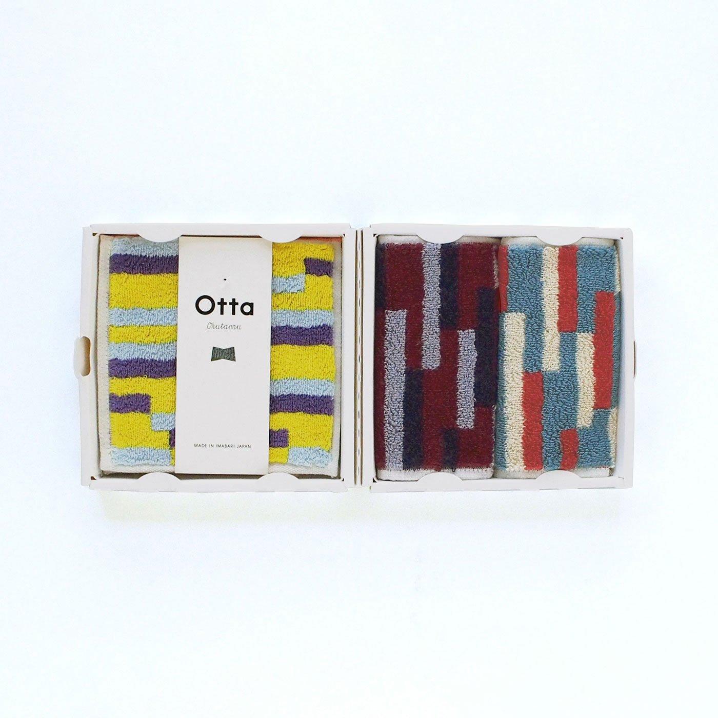 さすが今治タオルの吸水性! ユニークなふたつ折りスマートハンカチ「Otta」3枚セット〈柄×柄〉