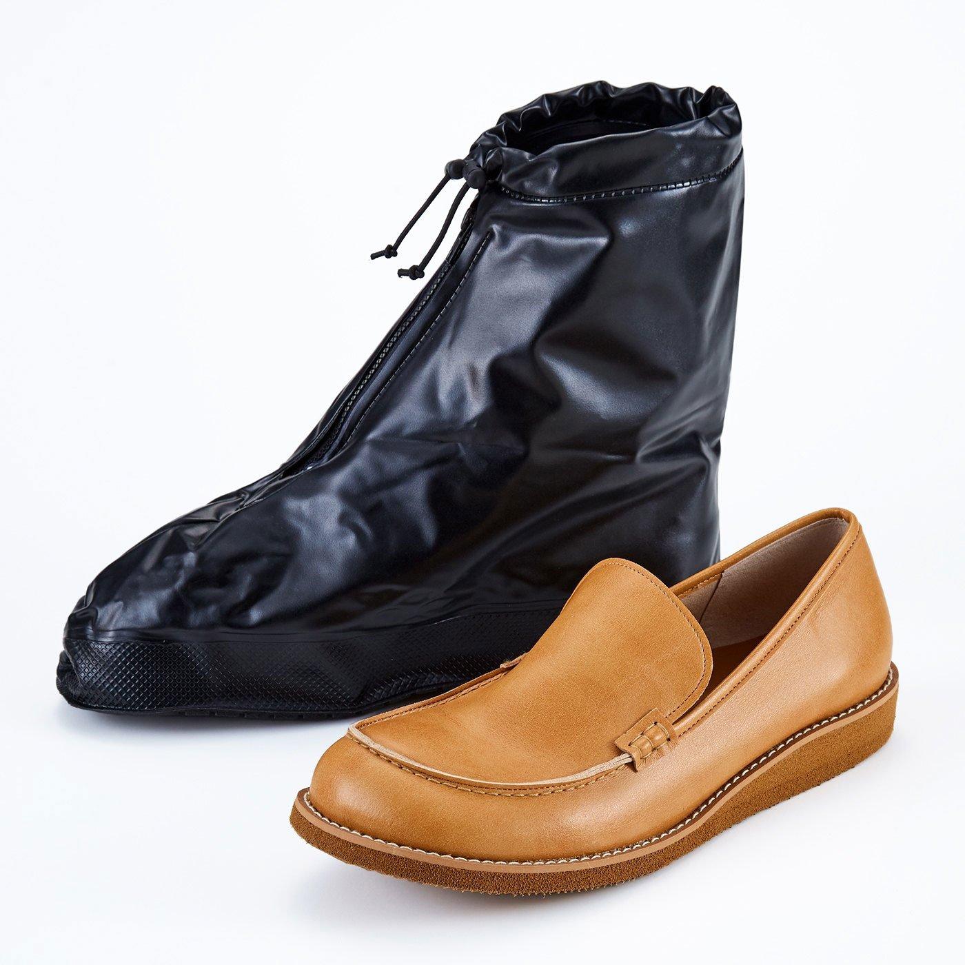 靴を雨や泥から守る たたんで持ち歩けるシューズレインカバー〈黒〉