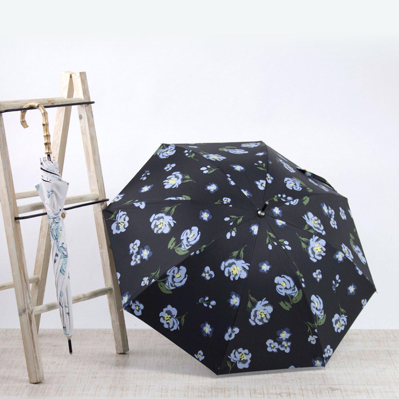 持ち姿も愛らしい バンブーハンドル日傘<フラワー>